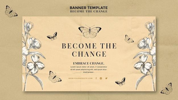 Devenez La Bannière Du Papillon Du Changement Psd gratuit