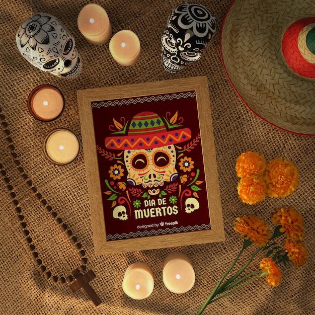 Dia De Muertos Crânes Avec Sombrero Vue De Dessus Psd gratuit