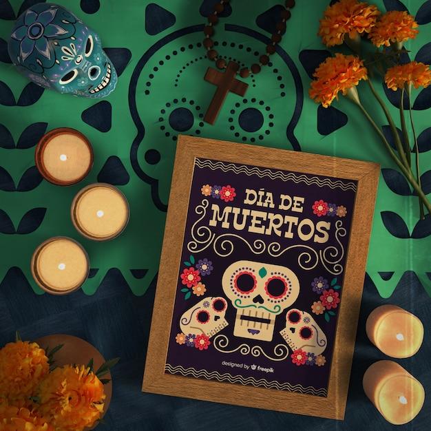 Dia De Muertos Violet Crânes Avec Sombrero Vue De Dessus Psd gratuit