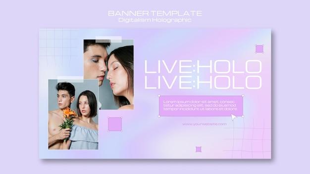 Digitalisme Holographique Avec Bannière De Couple Ensemble Psd gratuit