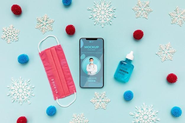 Disposition Des éléments De Coronavirus Avec Maquette De Smartphone PSD Premium