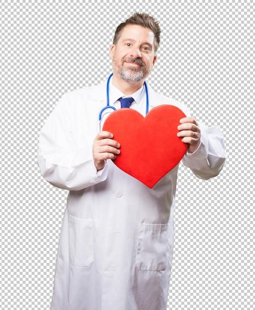 Docteur Homme Tenant Un Coeur PSD Premium