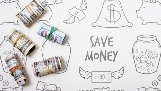 Doodle fond financier avec des billets de banque Psd gratuit