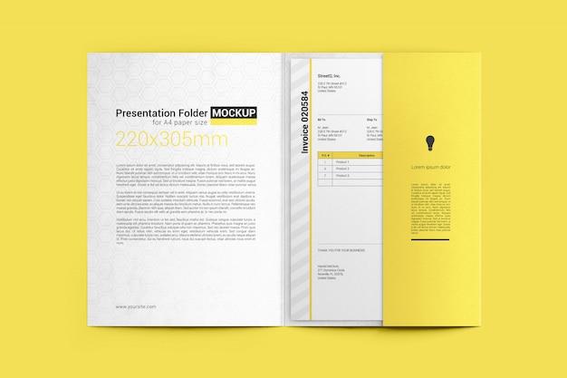 Dossier ouvert avec la maquette de format de papier a4 PSD Premium