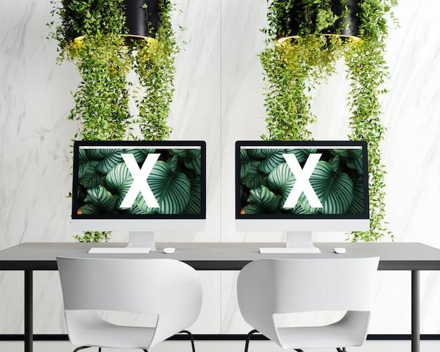 Double ecran avec lampe fleurs PSD Premium