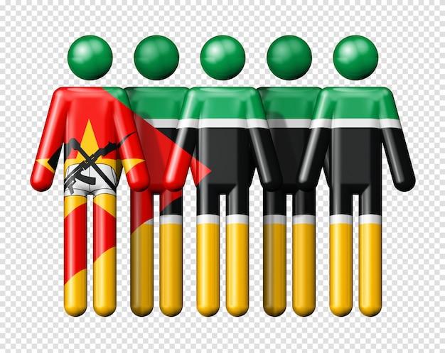 Drapeau Du Mozambique Sur Des Chiffres De Bâton PSD Premium