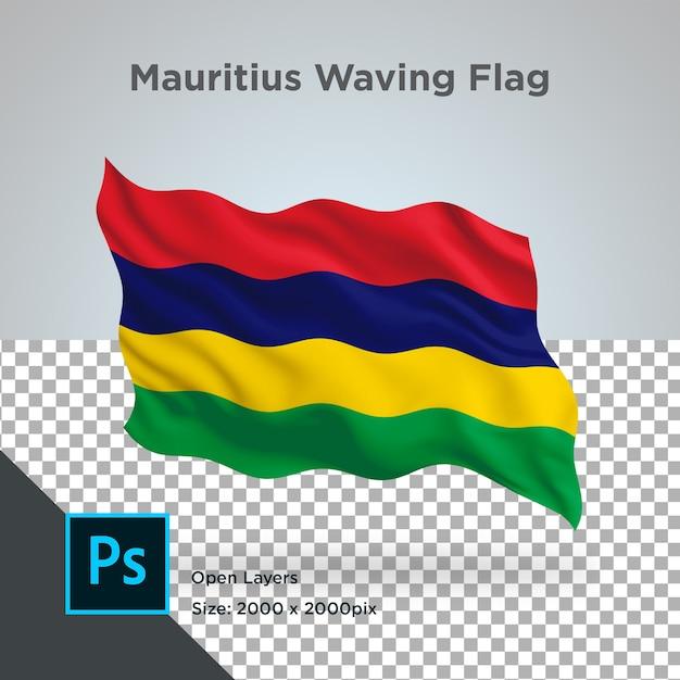 Drapeau De L'ile Maurice Wave Design Transparent PSD Premium