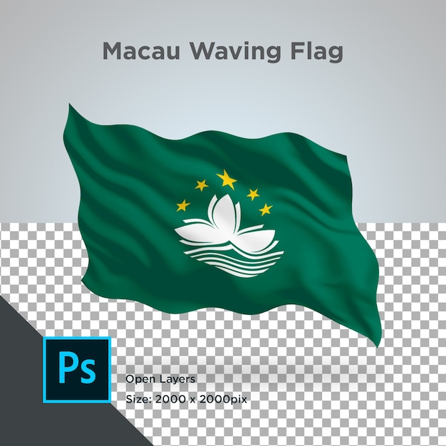 Drapeau De Macao Wave Design Transparent PSD Premium