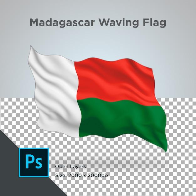 Drapeau De Madagascar Wave Design Transparent PSD Premium