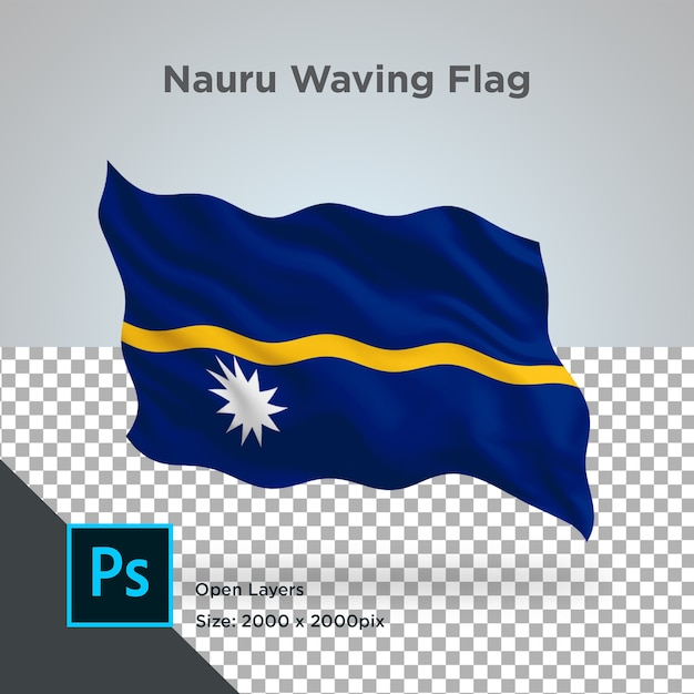 Drapeau Nauru Wave Design Transparent PSD Premium