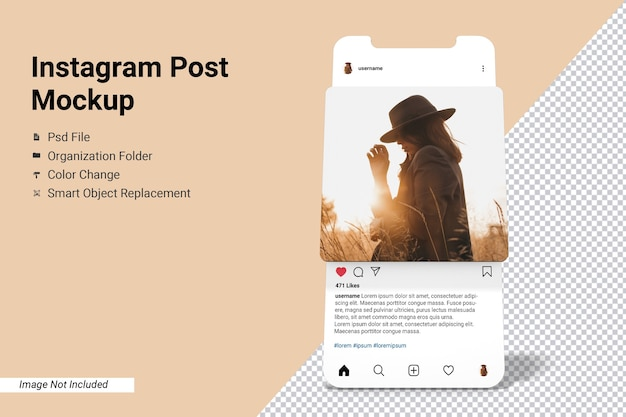 Écran De L'application Instagram Post Maquette Isolée PSD Premium