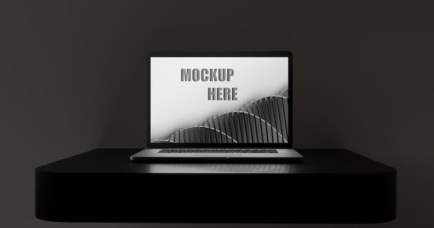 Écran De Maquette D'ordinateur Portable Sur Un Bureau Noir Brillant PSD Premium