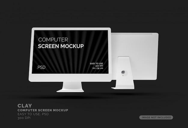 Écran D'ordinateur Maquette Sur Table PSD Premium