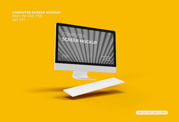 Écran D'ordinateur Volant Maquette Avec Clavier PSD Premium