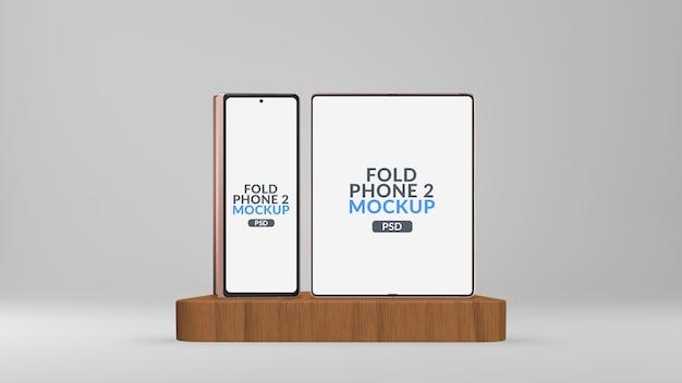 Écran Principal Et Secondaire Du Téléphone Tablette Pliable Sur La Maquette De Scène Isolée PSD Premium