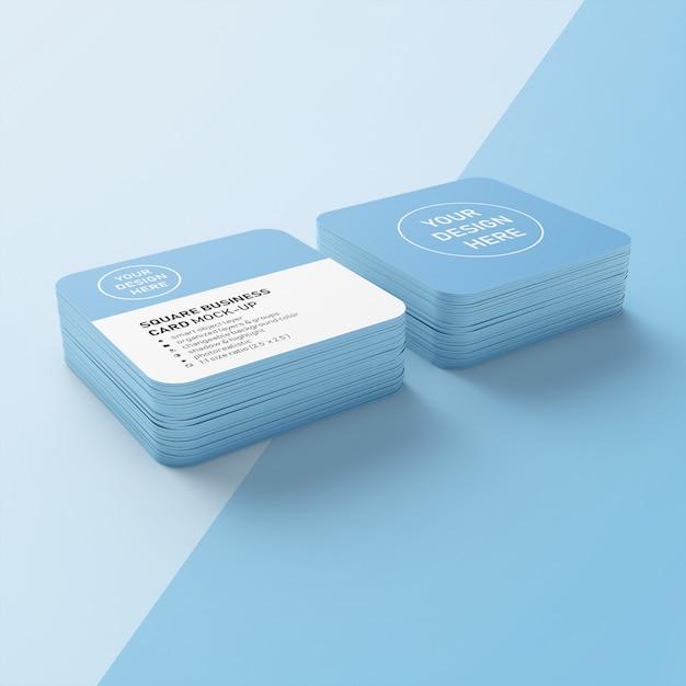 Editable premium deux piles de cartes de visite avec un modèle de conception de maquette de coin arrondi en vue en perspective inférieure PSD Premium