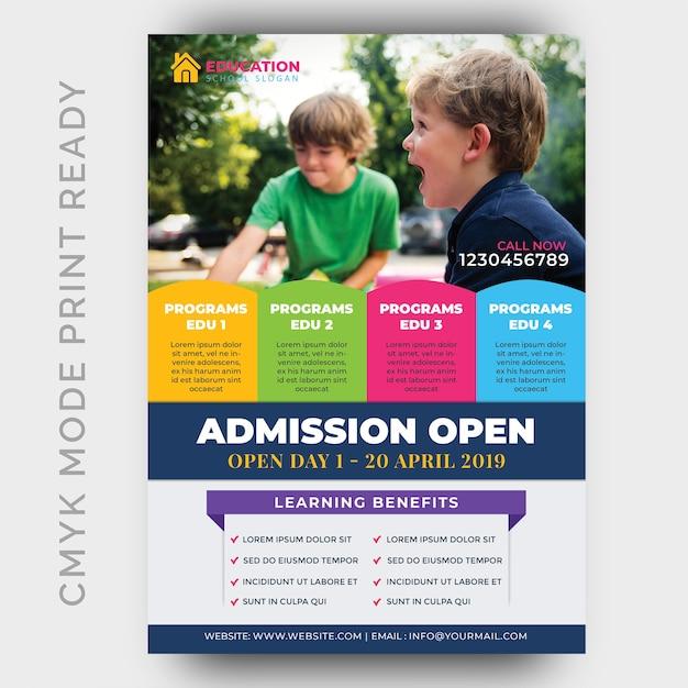 Education, modèle de conception flyer retour à l'école PSD Premium