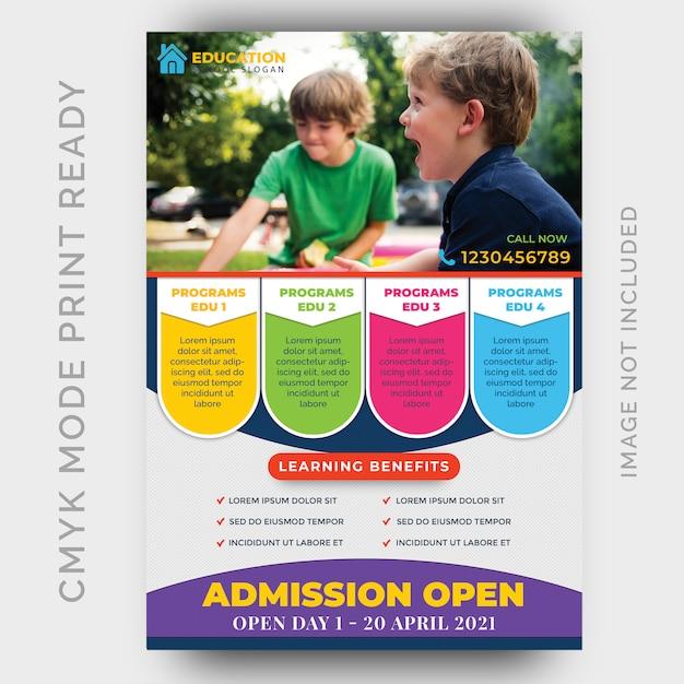 Education, modèle de conception de flyer de retour à l'école PSD Premium