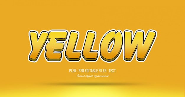 Effet de style de texte 3d jaune PSD Premium