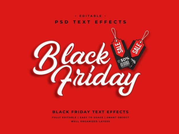Effet de style de texte 3d vendredi modifiable en noir PSD Premium
