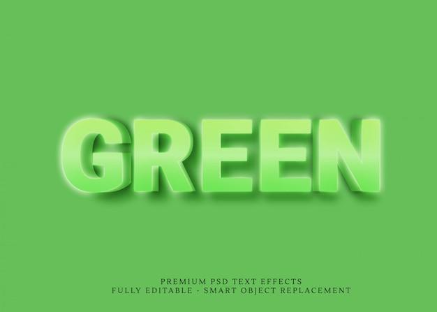 Effet de style de texte 3d vert psd PSD Premium