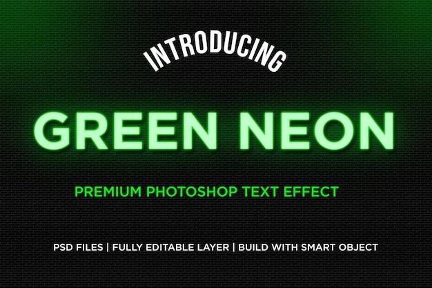 Effet de style de texte néon vert PSD Premium