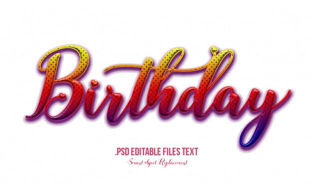 Effet De Texte D'anniversaire Psd, Ensemble élégant Rose Violet Rouge Abstrait Bel Effet De Texte, Effet De Police Modifiable De Style De Texte Charmant PSD Premium