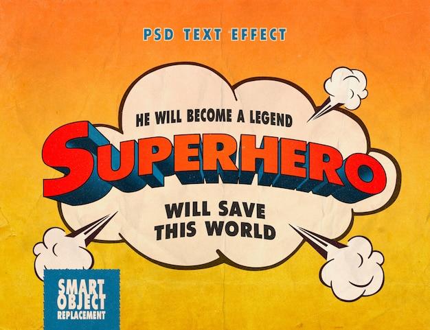 Effet De Texte De Livre De Bandes Dessinées De Super-héros PSD Premium