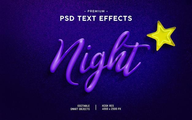 Effet de texte de nuit PSD Premium