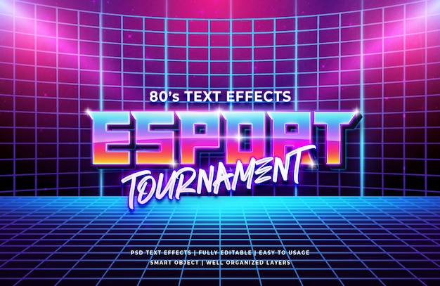 Effet Texte Rétro Du Tournoi Esport 80 PSD Premium
