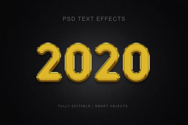 Effet de texte de style ballon 2020 PSD Premium