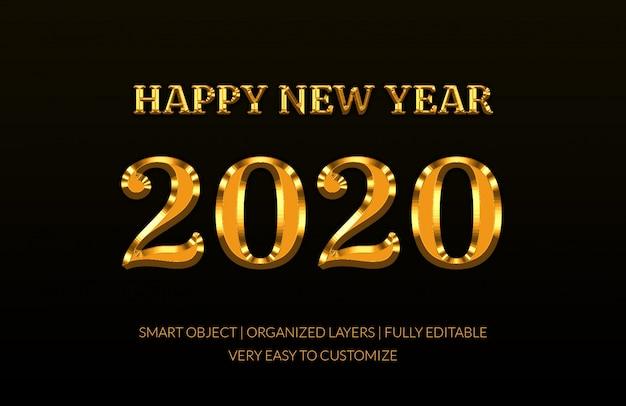 Effet de texte de style doré 2020 PSD Premium