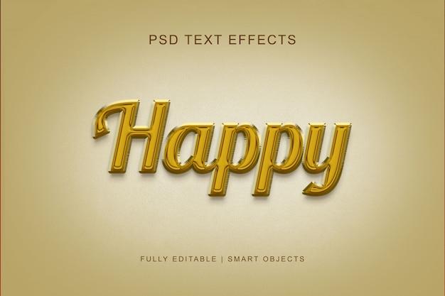 Effet de texte de style heureux PSD Premium