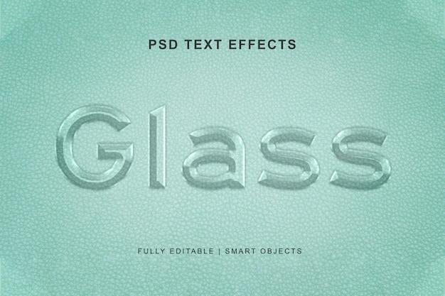 Effet de texte en verre et style d'effet de texte PSD Premium