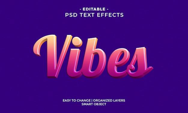 Effet De Texte Vibes 3d Coloré Moderne PSD Premium