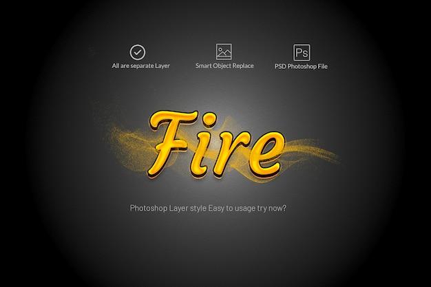 Effets de texte d'incendie avec fumée de mouvement PSD Premium