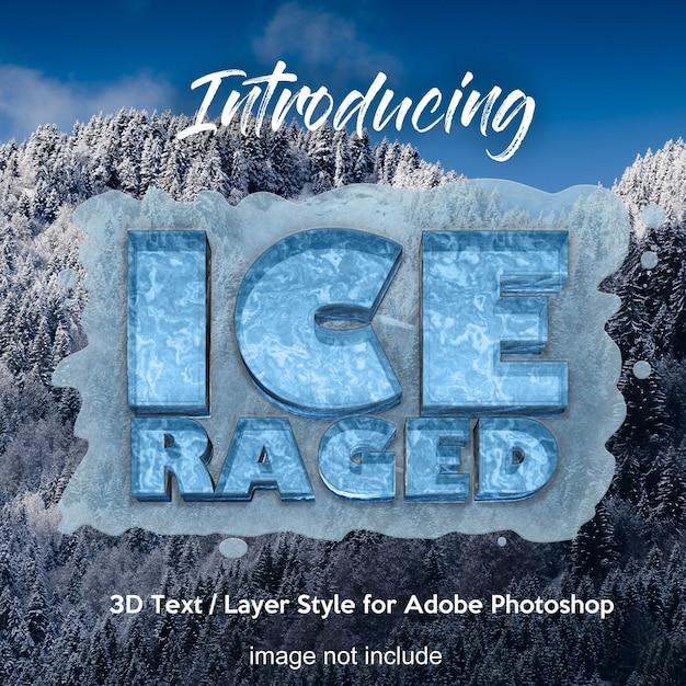 Effets de texte de style de calque photoshop 3d frozen ice PSD Premium