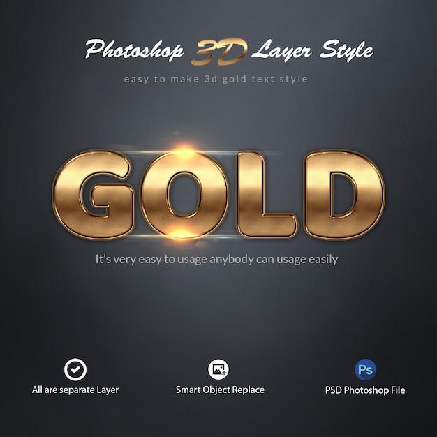 Effets de texte de style de calque photoshop 3d gold PSD Premium