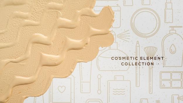 Éléments cosmétiques avec fondation Psd gratuit