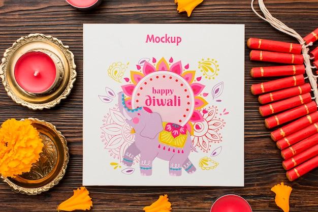 Éléphant Et Bougies Dessinés Au Festival De Diwali Psd gratuit