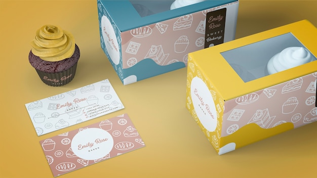 Emballage de cupcake et maquette de marque Psd gratuit