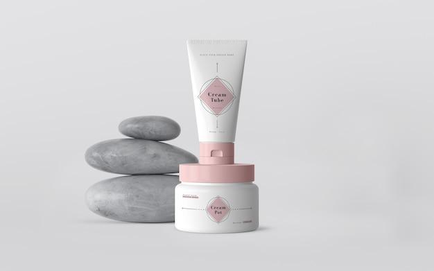 Emballage rose de produits cosmétiques Psd gratuit