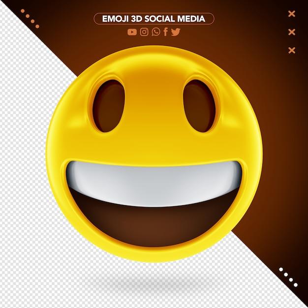 Emoji 3d Heureux Avec Un Visage Joyeux Et Un Sourire Ouvert PSD Premium