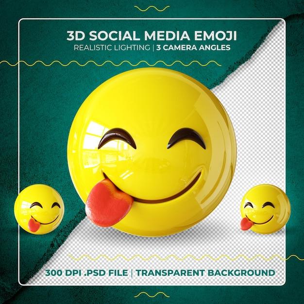 Emoji 3d Isolé Mordant La Langue PSD Premium