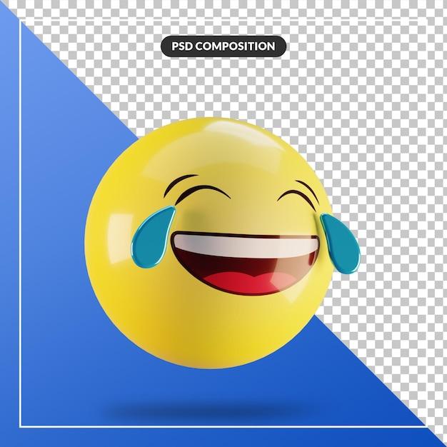 Emoji 3d Avec Des Larmes De Joie Isolées Pour La Composition Des Médias Sociaux PSD Premium