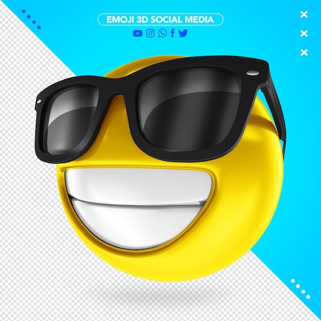 Emoji 3d Avec Des Lunettes Noires PSD Premium