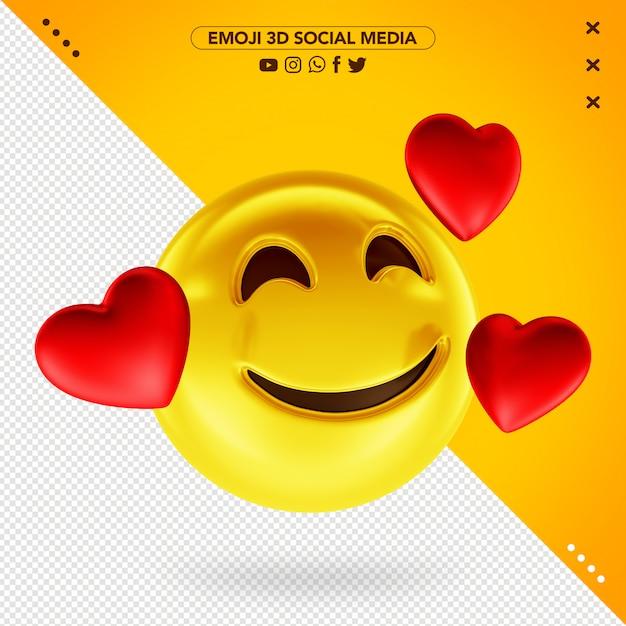 Emoji Amoureux 3d Souriant Pour Les Médias Sociaux PSD Premium