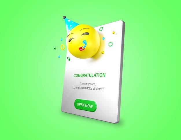 Emoji De Fête Dans La Maquette De Notification Isolée PSD Premium