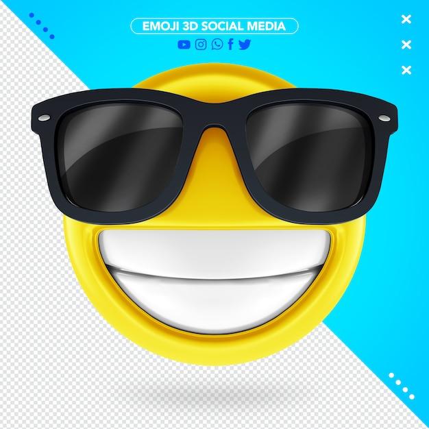 Emoji Lunettes 3d Avec Un Sourire Très Heureux PSD Premium