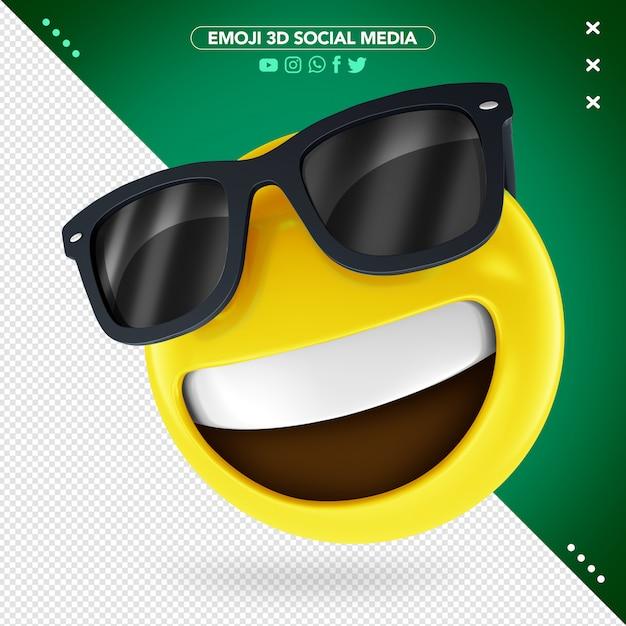 Emoji Lunettes De Soleil 3d Et Un Sourire Montrant Les Dents Supérieures PSD Premium